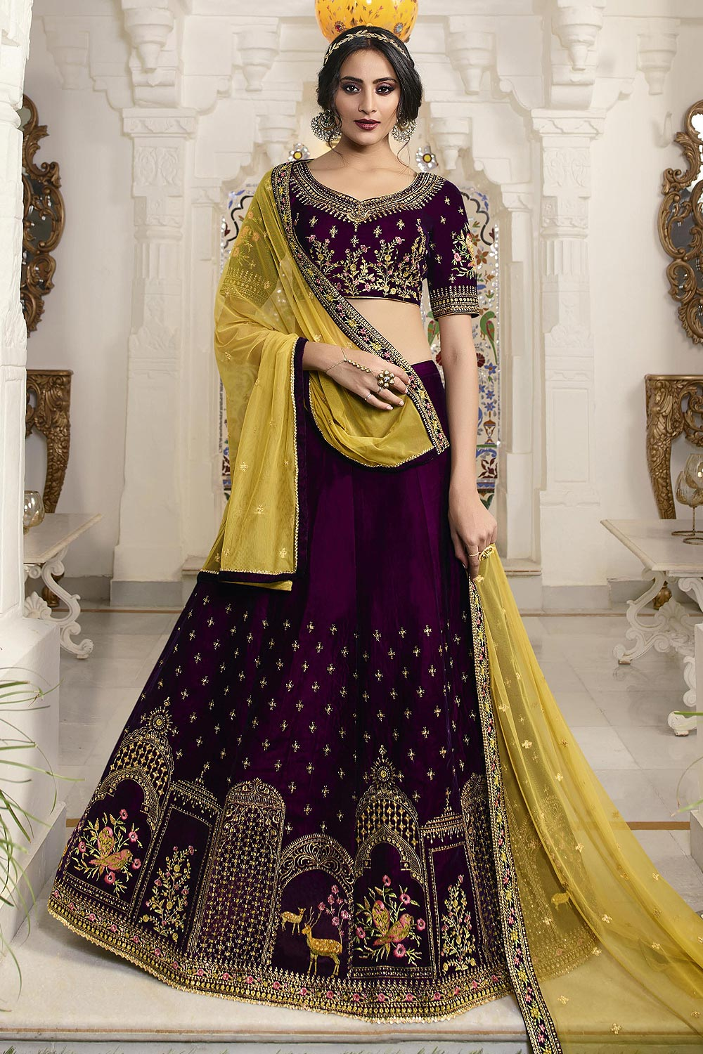 Purple & Yellow Lehenga