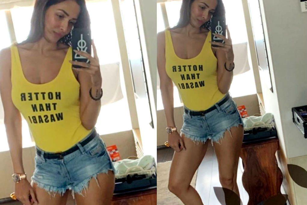 Malaika Arora in Denim Shorts