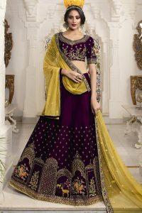 Purple & Yellow Lehenga